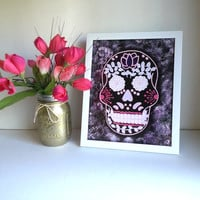 Hipster sugar skull 8.5 x 11 inch art print for baby nursery, dorm room, or home decor