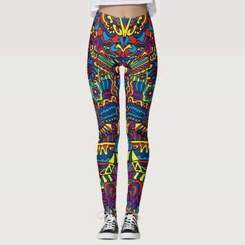 Groovy ZenDoodle Colorful Art Leggings
