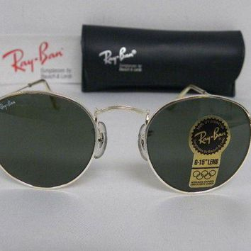 LMFON Tagre? Cheap New Vintage B&L Ray Ban Small Round Metal 47mm Silver G-15 W2103 USA NOS outlet