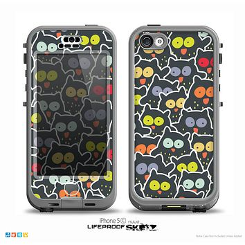 The Cartoon Color-Eyed Black Owls Skin for the iPhone 5c nüüd LifeProof Case
