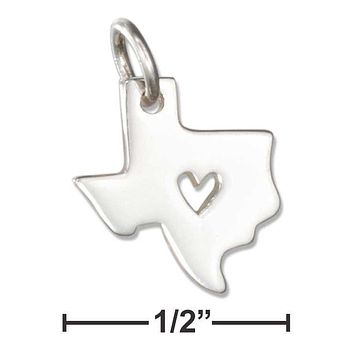 Sterling Silver Charm:  Silhouette Texas State Charm With Heart Cut Out