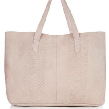Snake-Effect Suede Shopper - Light Pink