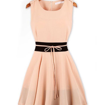 Sleeveless Lace Tie Chiffon Mini Skater Dress