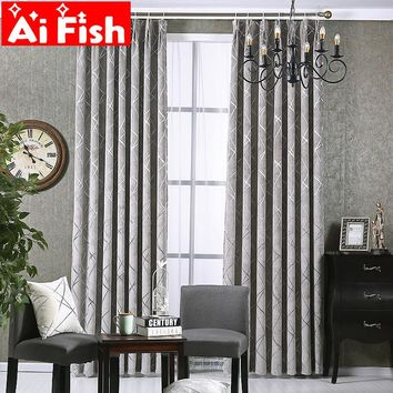 Simple Modern Living Room Thicken Chenille Grey Beige and Coffee Jacquard Water Cube Shade Curtains For Bedroom Decor AP293 &30