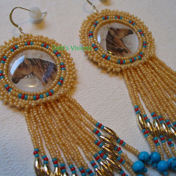 Native American Style Rosette beaded Horse earrings in Carmel Cerulean and Dark Red