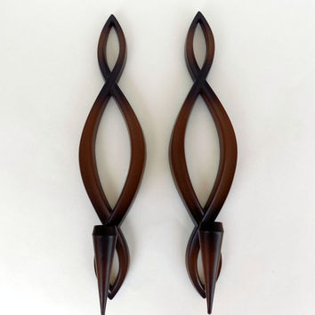 Mid Century Modern Candle Sconces - Syroco 1967
