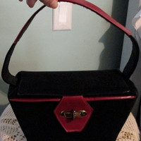 Shop Sale Vintage Black Suede, Red Leather Handbag / Stylecraft / 50s Box Bag