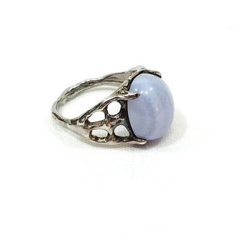 Lace Agate Ring, Sterling & Lavender Agate, Semiprecious Gemstone Ring, Size 5.75, Goth Brutalist Vintage Jewelry
