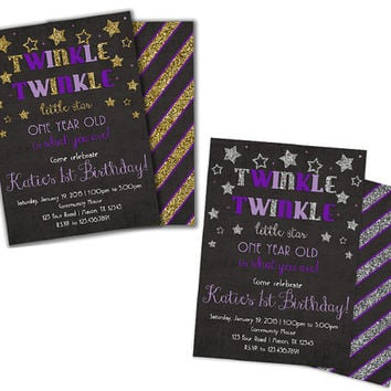 1st Birthday Twinkle Little Star invitation - Girl 1st Birthday Party Purple Invitations - Gold Purple Silver Lavender - Unique 1st Birthday