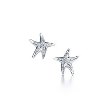 Tiffany & Co. -  Elsa Peretti® Starfish earrings with diamonds in platinum.