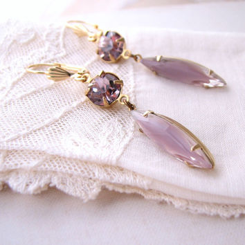 Amethyst givre art glass earrings purple Summer Jewelry