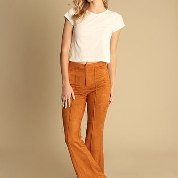 Pompeii Faux Suede Bell Bottoms In Rust | Threadsence