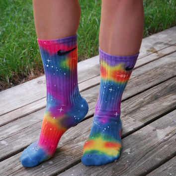 Tie Dye Galaxy Nike Crew Socks Glow in The by DardezLiberalFashion