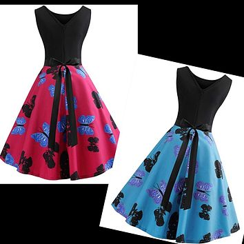 Retro Inspired Butterfly Print Swing Dress, Sizes Small - 2XLarge