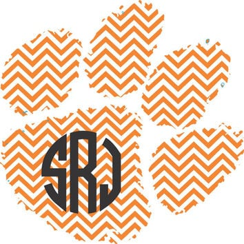 Clemson Chevron Monogram Sticker ~  Custom Decal ~  Clemson Tigers - Paw