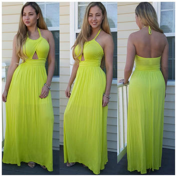 Neon Green Halter Cut-Out Maxi Sundress