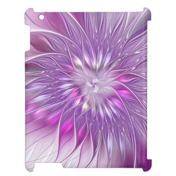 Pink Purple Flower Passion Abstract Fractal Art Cover For The iPad