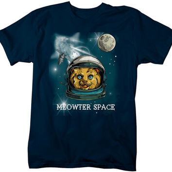 Funny Hipster Meowter Space Cat T-Shirt Graphic Printed Tee Hip Gift Idea Kitty Outer Space