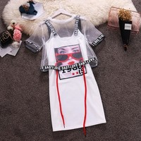 Beach Casual Women Suits Mesh Perspective Short Tops+Letter Spaghetti Strap Printed Pattern Mini T-Shirts Dress 2-pieces Sets