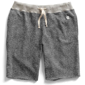 Cut Off Gym Shorts in Salt and Pepper Contrast