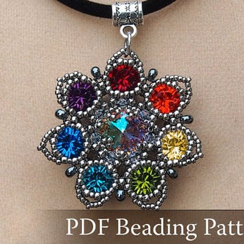 Seven-Colored Flower Pendant Beading pattern, Drow Queen Flower Pendant Pattern, Rainbow color pendant pattern, PDF