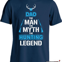 Funny Dad Shirt Fathers Day T Shirt Gifts for Dad Expectant Father The Man The Myth The Hunting Legend TShirt Men's Tee MD-426
