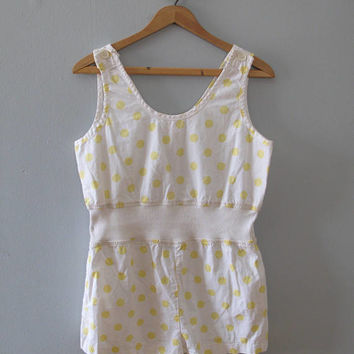 80s vintage romper - yellow white polka dot one piece shorts jumpsuit sleeveless cotton playsuit beachwear Onesuit retro summer small medium