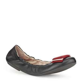 Women's black leather ballet flats | BEATRIS | Bally Ballerinas