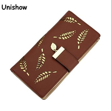 Hollow Out leaf Women Wallet long HASP PU leather women purse korean style ladies wallet clutch beautiful 2017 card holder