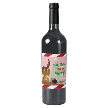 Reindeer Love Cookies Wine Label