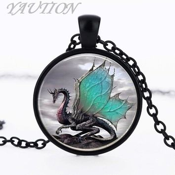 3/Color Blue Dragon Necklace Handmade glass dome Jewelry Long art Photo Necklace Charm Fantasy wing Dragon Jewelry