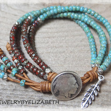 Seed Bead Bracelet/ Beaded Wrap Bracelet/ Native American Bracelet/ Seed Bead Leather Bracelet/ Southwestern Jewelry/ Beaded Leather Wrap.