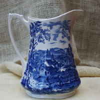 Vintage REVERIE Alfred Meakin Staforshire Blue and White Pitcher