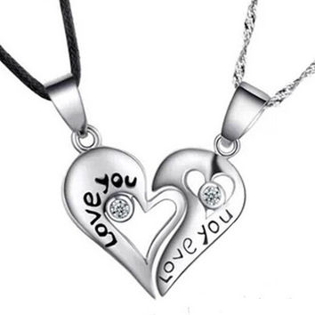 "Fashion silver ""LOVE YOU"" heart-shaped pendant necklace Couples Necklace (2 pcs a set) = 1929667588"