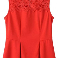 Sleeveless Lace Embroidered Pleated Blouse