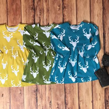 RTS-DEER DRESS, BABY GIRLS FALL CLOTHES