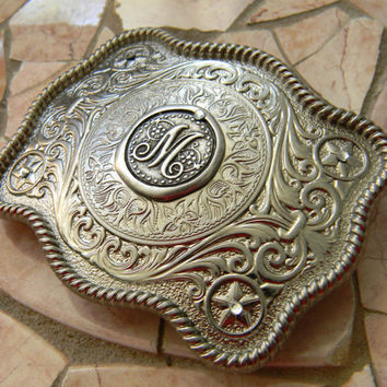 Monogram Letter M Wax Seal Silver Belt Buckle,  Western Belt Buckle, Groomsman Gift, Bridesmaid Gift, Custom Monogrammed Stamp Belt Buckle