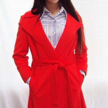 Vintage TANGERINE orange Princess Coat MOD 60s Minimalist with matching Belt Small - Medium