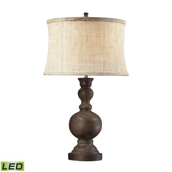 D2240-LED Westbridge Wooden LED Table Lamp With Hand Woven Natural Linen Shade - Free Shipping!