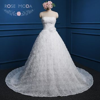 Rose Moda 3D Flowers Ball Gown Lace Up Back Strapless White Ivory Red Princess Wedding Dresses Plus Size Real Photos