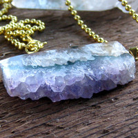 Raw Amethyst Crystal Necklace Bohemian Jewelry