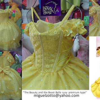 Belle disney princess yellow dress The Beauty and The Beast gown bride girl bridesmaid party quince pageant XV flower girl costume