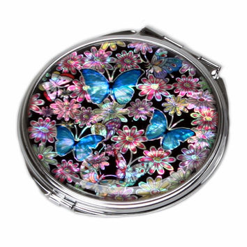 Mother of Pearl Blue Butterfly 2x Magnification Double Compact Cosmetic Makeup Handbag Vanity Folded Purse Round Pocket Mirror