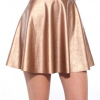 Metallic Pleather Skater Skirt