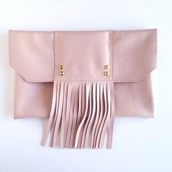 Copacabana   Blush Fringe Clutch. Light Pink Italian Lambskin. Gold Pyramid Studs. Bohemian Boho Chic Clutch. Free Us Shipping.