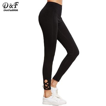 Female Cut Out High Waist Black Lattice Hem Leggings