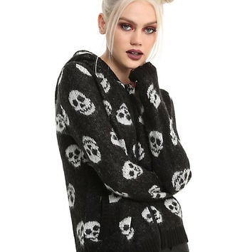 Skull Girls Hooded Sherpa Sweater