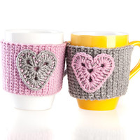 Crochet mug cozy warmer, Mug warmer, crochet hearts, accessories, cup cozy, tea cozy, Pink Gray , Set of 2, Available in two sizes