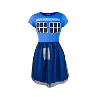 Doctor Who TARDIS Juniors Navy Fit & Flare Tulle Dress