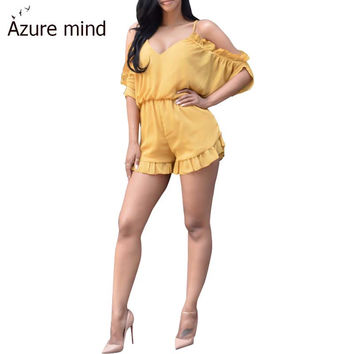 Azure mind 2016 cotton women jumpsuit romper sexy v neck hollow out drawstring one piece overall petal sleeve summer playsuits